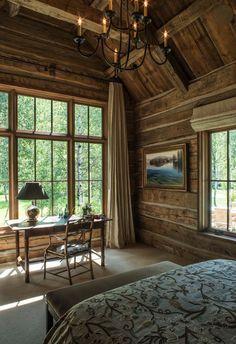 20 timeless urban rustic decor for your bedroom # Cabin Design, Design Hotel, House Design, Cabin Curtains, Rustic Curtains, Long Curtains, Urban Rustic, Cabin Homes, Log Homes