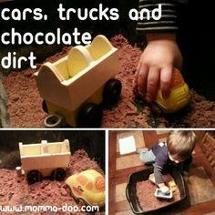 Cars, trucks, and chocolate dirt -- sensory bin fun!