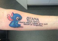 Ohana tattoo. Stitch and his motto