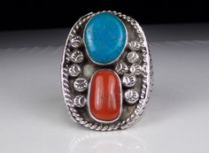 Large Mens Navajo Sterling Silver Ring Turquoise Coral Native American Solid  #Unknown