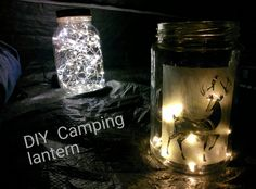 DIY Lantern Jar with etched glass and string lights Etched Glass, Glass Etching, Diy Lantern, Candle Jars, Candles, Camping Lanterns, Diy Camping, String Lights, Backyard