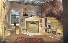 Studio Apartment from HBO's Girls: The design takes advantage of the space's high ceilings to create a room-within-a-room, as well as a loft space for lounging. The elevated space can be accessed by stairs that double as built-in storage shelves and a mini closet to hang clothes.
