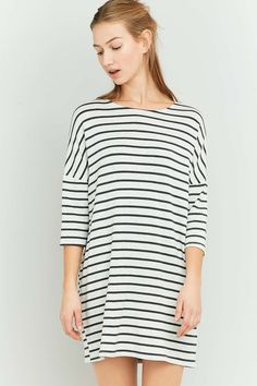 BDG Grey Breton Striped Tunic Dress