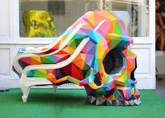 okuda san miguel collaborates with HAROW for multicolor version of the skull armchair designboom Okuda, Street Art Graffiti, Boho Decor, Sculpture Art, Collaboration, Baby Car Seats, The Darkest, Pop Art, Antiques