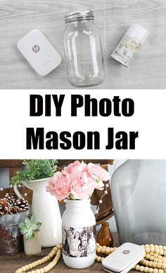 Make this easy jar as a gift, party centerpiece, or to display around your home! #masonjar #photogift #pictures #jarcrafts #easycrafts Mason Jar Gifts, Mason Jar Diy, Mason Jar Picture, Diy Gifts In A Jar, Diy Jars, Diy Bottle, Bottle Crafts, Crafts With Bottles, Diy Home Crafts