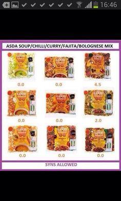 Asda mixes, syn values Slimming World Quick Meals, Asda Slimming World, Slimming World Shopping List, Slimming World Syn Values, Slimming Worls, Weight Watchers Ready Meals, Fajita Mix, Reading Food Labels, Food Lists