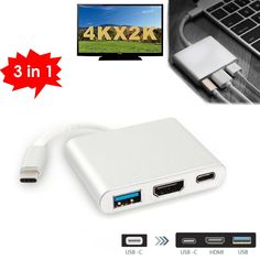 3in1 Type C to 4K HDMI TV Projector Video / USB 3.0 HUB / USB-C 3.1 Female Charging Adapter Converter For Apple Macbook Notebook