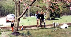 Paul, Linda, James & Lucky (and what appears to be a large Snoopy head!) on a beautiful Spring day