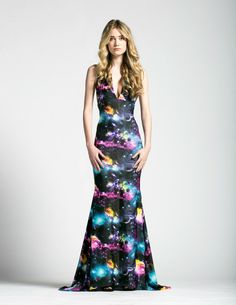 Galaxy Print Astral Gown with Mermaid Train by AliciaZenobia