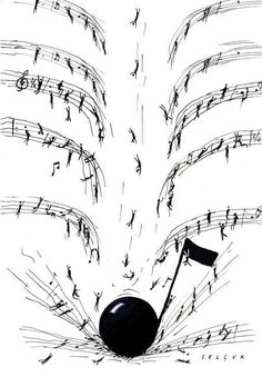 Drop the note. Illustration for Princeton Alumni Weekly by Selçuk Demirel Sound Of Music, Music Is Life, My Music, Music Lyrics, Music Quotes, Instruments, Pop Rock, All About Music, Music Pictures