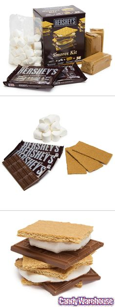 Everything you need to make 36 Hershey's s'mores, right out of the box: marshmallows, hershey bars, and graham crackers. It's the perfect summer candy treat just waiting to happen around your campfire. http://www.candywarehouse.com/products/hersheys-smores-kit-with-graham-crackers-and-marshmallows/