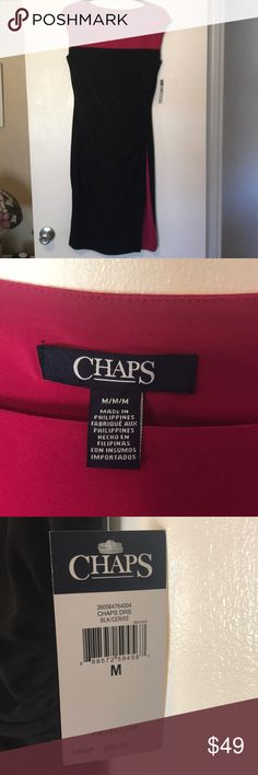 Ralph Lauren Chaps Women's color block dress Hot Pink and Black Slit only shows color, not your leg! Beautiful neckline new with tags  NWT Chaps Dresses Midi