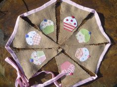 Burlap Cupcake Pennant Banner Bunting with by TheForgottenRoom, $32.00