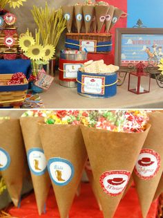 Cute presentation ideas for a Toy Story birthday party. Juice boxes = Sheriff Woody's Cowboy Juice
