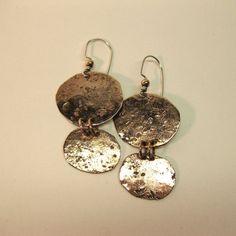 Dangle Earrings Hand Textured Copper Ovals by BirchBayKay on Etsy, $26.00
