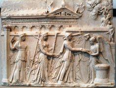 Leto, Artemis, and Apollo with Nike, relief in the Villa Albani.