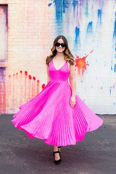 Topshop Pink Sequin Fit Flare Dress