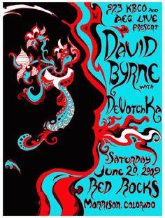 David Byrne Original Red Rocks Silkscreen Concert Poster