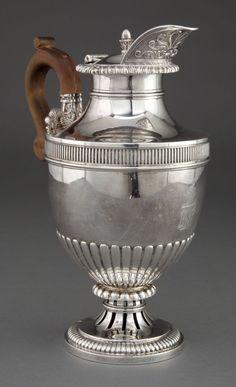 A PAUL STORR GEORGE III SILVER HOT WATER JUG . Paul Storr, London,England, circa 1813-1814. Vintage Silver, Antique Silver, Silver Teapot, Metal Working, Art Decor, Tea Pots, London England, Bronze, Crystals