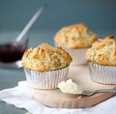 Lemon almond poppyseed muffin.