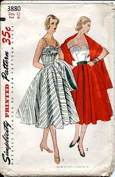 1950's Sewing Pattern No. 3880:  Sexy Boned Fitted Bodice with Full Flared Skirt and Stole  Bust 30""