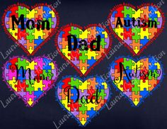 Autism Heart Cut Files for Silhouette and Cricut svg dxf jpg png pdf formats included.  Show your heart! Select from multiple choices for Mom, Dad, and Autism lettering.  Included in the zip download are SVG, DXF, PDF, PNG, and JPG formats.  Registration marks are included to help with alignment.  I personally have a Silhouette Cameo, and have limited knowledge of Design Space, and other cutting software, but will help in any way I can. Please feel free to contact me with any questions.  By…