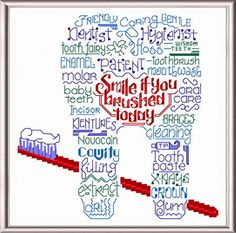 Lets Thank our Dentist - 'Words' cross stitch pattern designed by Ursula Michael.