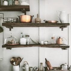 Kitchen wood shelves and display
