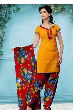 USD 29.08 Orange Flower Printed Cotton Punjabi Salwar Suit   37527
