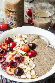 Coffee Protein Chia Bowl 1 bottle 1915 Organic Protein Coffee 4 Tbsp chia seeds cherries sliced almonds