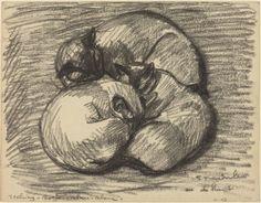 Théophile Alexandre Steinlen. Les Chats: Tsching, Batzar et Blanc-Blanc. Charcoal.