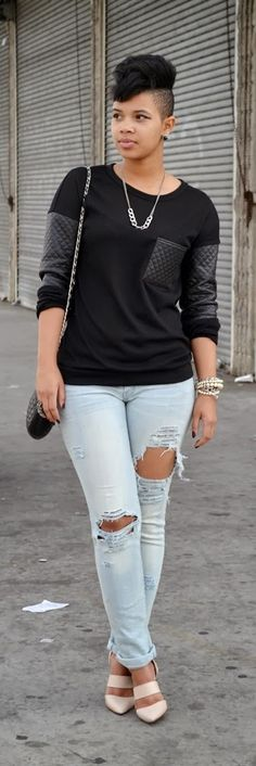 Quilted Leather Shirt + Blush Pumps / Recycling Fashion