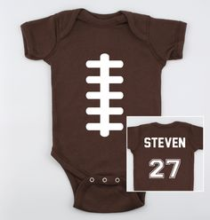 Football Baby Onesie with Name and Number on the by MamiOrigami, $14.95