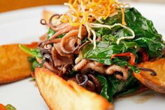 Grilled Octopus with Stir Fry Spinach - Grill Recipes