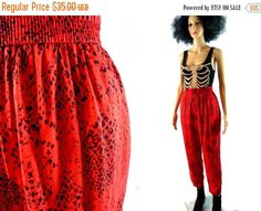 tEMPSALE 80's Snake Print Pants Red LAURA & by MirrorballBoutique