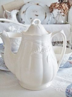 Fat ironstone teapot with wheat motif
