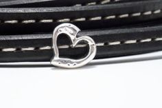 6 X licorice leather finding large Heart Silver by frameyourbag, €3.59
