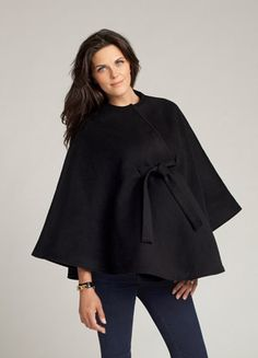 Take a look at this Black Tie-Front Wool-Blend Maternity Cape by Ingrid & Isabel on today! Maternity Wear, Maternity Fashion, Maternity Style, Pregnancy Fashion, Maternity Wardrobe, Pregnancy Outfits, Pregnancy Band, Winter Pregnancy, Designer Maternity Clothes