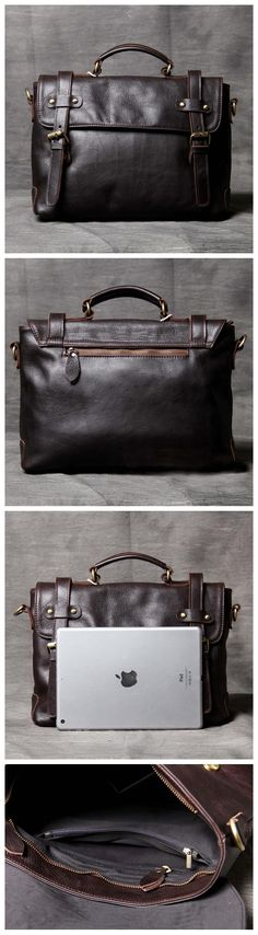 LEATHER BRIEFCASE, 100% FULL GRAIN LEATHER, LAPTOP BUSINESS BAG