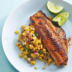 Serve this Chile-Lime Catfish on a bed of jalapeno-garlic corn (all cooked in the same pan) and dig in! More healthy one-dish dinners: www. Fish Dishes, Seafood Dishes, Fish And Seafood, Seafood Recipes, Seafood Gumbo, Cajun Recipes, Mexican Recipes, Main Dishes, Healthy Dinner Recipes