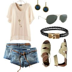 Polyvore Summer Outfits With Shorts | Ready for Summer by rachelrx featuring denim short shorts