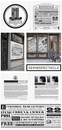 SEMIOSPECTACLE NEW YORK    Services: Identity Development, Flyer Design    Details: Semiospectacle is a literary event that features performance artists and lectures at the famed PS122 performance space in New York City. They requested an identity that payed homage to Dada-inspired design. The use of books as the key element in the logo ties into the literary theme.