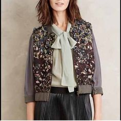 """Anthropologie embellished bomber Lantau Bomber for anthropologie. Delicate floral applique elevates this printed bomber From Not So Serious, Indian designer Pallavi Mohan's ready-to-wear collection. Polyester, elastane Dimensional floral applique Front zip 21""""L Anthropologie Jackets & Coats"""