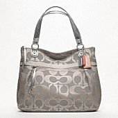 POPPY METALLIC SIGNATURE SATEEN GLAM TOTE- $198 silver/dove