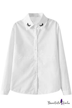 Eyelash Embroidered Lapel White Shirt