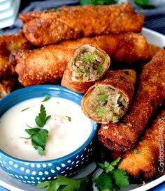 Philly Cheesesteak Egg Rolls | 15 Homemade Egg Rolls With Savory And Sweet Flavors | Must Try Delicious Side Dish or Appetizer Recipe, check it out at  http://homemaderecipes.com/15-homemade-egg-rolls/