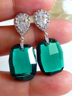 Emerald Green Swarovski  Earrings