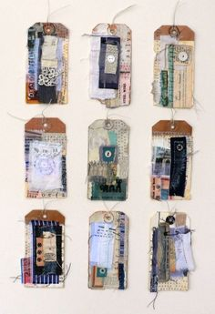 COLLAGE TAGS - Shelley Rhodes - i love decorated labels, something i should really try for starting my sketch book Textiles Sketchbook, Art Sketchbook, Sketchbook Inspiration, Creation Art, A Level Art, Mixed Media Collage, Collage Book, Mixed Media Journal, Collage Ideas
