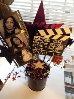 Movie Night Hollywood Theme Party Table Centerpiece Decoration Quinceañera ( Front View ) Colors: Black-Red-Gold