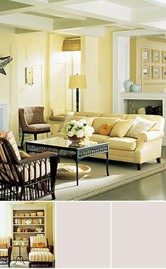 Yellow living room. I could add touches of blue. Very pretty.
